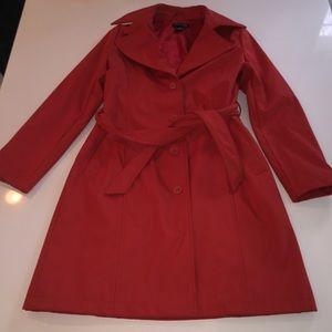 Kenneth Cole orange coat jacket button front tie m